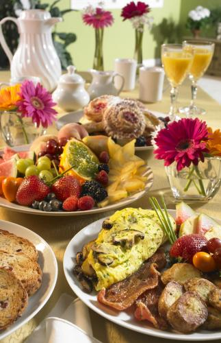 Breakfast Buffet Catering With Fresh Fruits And Eggs