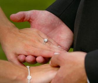 Bride and Groom holding hands on their perfect wedding day