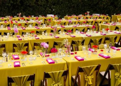 bright floral on lime green table fuchsia napkins on rectangle tables