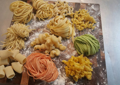assorted varies of local Phoenix fresh pasta PastaRea served as part of Creations in Cuisine Catering pasta action stations