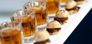 Burbon mini sliders pair perfectly with your wedding beverage catering for the perfect wedding cocktail hour finger foods