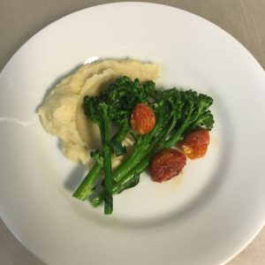 Gluten Free Catering - Steamed broccolini spears with roasted cauliflower, parsnip, and Yukon gold potato mash