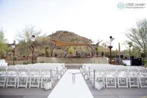 Desert Botanical Gardens outdoor wedding event seating.
