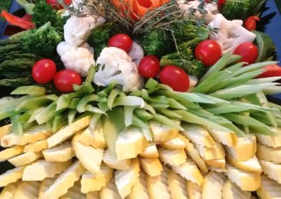 Decorative wedding buffet crudite' platter